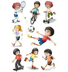 Kids engaging in different sports activities vector image