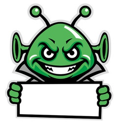 martian green mascot hold a sign vector image