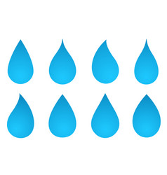set of water drop silhouettes vector image vector image