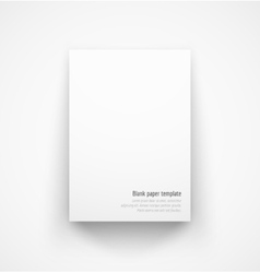 White paper template mock-up with drop shadow vector image vector image