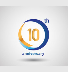 10 anniversary design with blue and golden circle vector