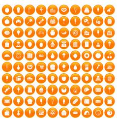 100 confectionery icons set orange vector