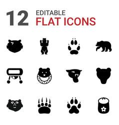 12 bear icons vector