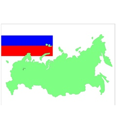 6204 russia map and flag vector image vector image