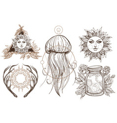 a set of outline in the style of boho templates vector image