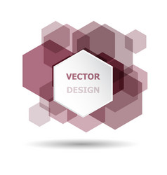 Abstract maroon hexagon banner background template vector