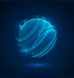Abstract technology hologram sphere sci fi neon vector