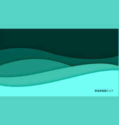 abstract turquoise color papercut style vector image