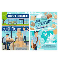 air mail delivery postman at post office vector image