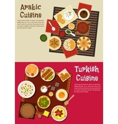 Arabian and turkish cuisine dishes vector