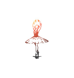 Ballerina girl dance woman art concept hand vector