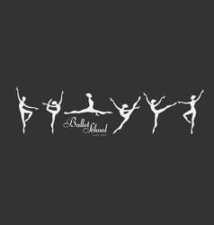 Ballerina silhouettes set dancing girls classic vector