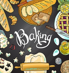 Beautiful hand-draw baking on the chalkboard vector