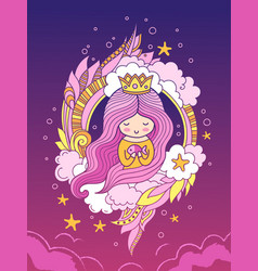 beautiful sweet princess with crown and long pink vector image