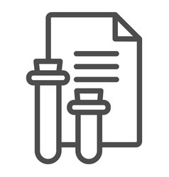Blood test result line icon flask and document vector