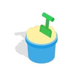 Bucket of sand and shovel icon isometric 3d style vector