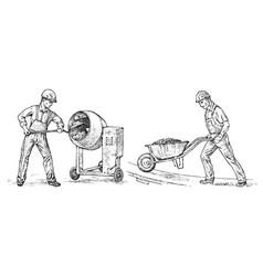 builder technician or cement worker engineer in vector image