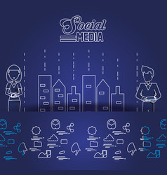business couple with social media icons vector image