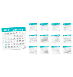 Calendar leaf year 2020 vector