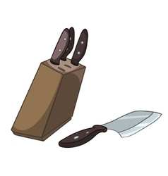 cartoon home kitchen knife set vector image vector image
