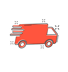 cartoon truck car icon in comic style fast vector image