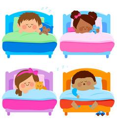 Children sleeping vector