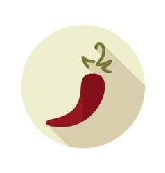 Chili pepper flat icon with long shadow vector