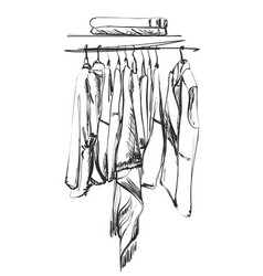 Clothes on the hanger outerwear dress and shirt vector