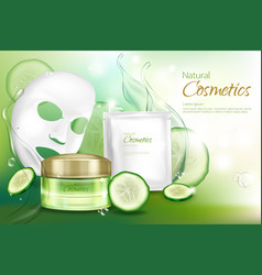 Cosmetic poster with mask cucumber vector