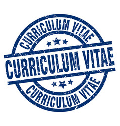 curriculum vitae blue round grunge stamp vector image