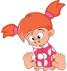 Cute little girl cartoon character vector