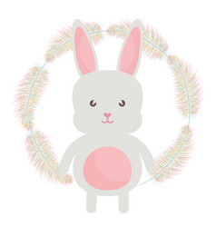 Cute little rabbit with feathers frame vector