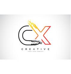 cx creative modern logo design with orange and vector image