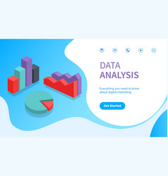 Data analysis website with info and infocharts vector