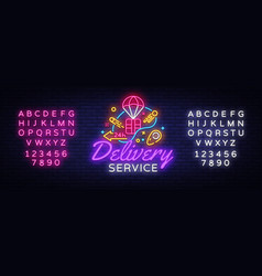 delivery service neon logo fast delivery vector image
