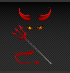 Devil horns harpoon satanic yellow eyes and tail vector