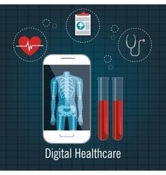 Digital healthcare cardio app graphic design vector