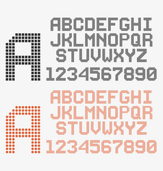 dotted font in retro style rounded and pixeled vector image