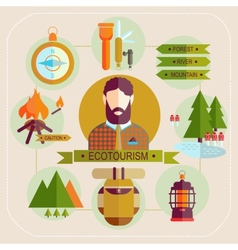 ecotourism man set flat icons vector image