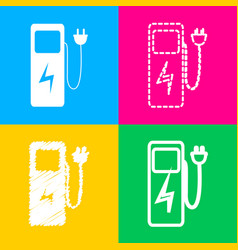 electric car charging station sign four styles of vector image