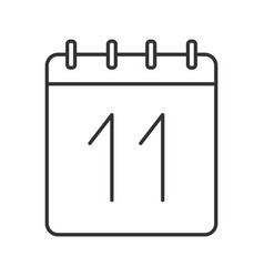 Eleventh day month linear icon vector
