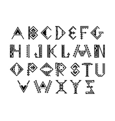 Ethnic font Native american indian alphabet vector image