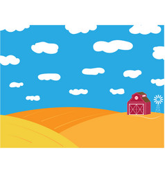 Farm ripe field with grain warehouse background vector