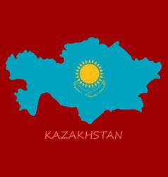 flag map of kazakhstan vector image