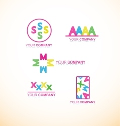Flat alphabet colors logo icon set vector image