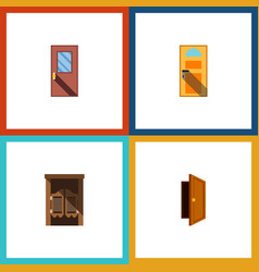 flat icon approach set of saloon door exit and vector image