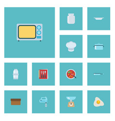 Flat icons skillet broth chef hat and other vector