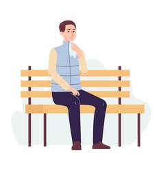 Flu or virus sick man with handkerchief flat vector