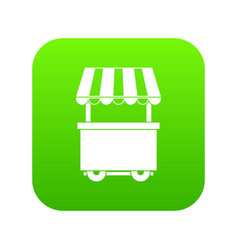 food trolley with awning icon digital green vector image