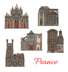 french travel landmark icons troyes architecture vector image